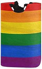 QMIN Laundry Basket Rainbow Colorful Stripe