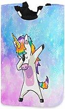 QMIN Laundry Basket Rainbow Snowflakes Unicorn Dab