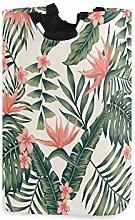 QMIN Laundry Basket Tropical Palm Leaves Flower