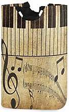 QMIN Laundry Basket Vintage Music Notes Piano