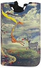 QMIN Laundry Basket Zebra Giraffe Animal Flower
