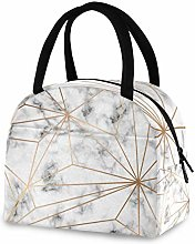 QMIN Lunch Bag Geometric Gold Lines Marble Print,