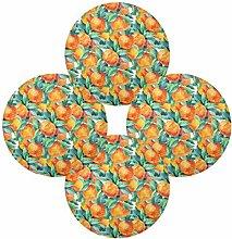 QMIN Round Placemats Set of 4, Art Painting Orange