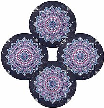 QMIN Round Placemats Set of 4, Indian Floral