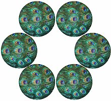 QMIN Round Placemats Set of 6, Animal Peacock