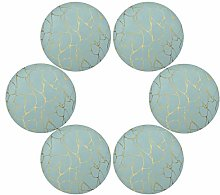 QMIN Round Placemats Set of 6, Blue Gold Lines