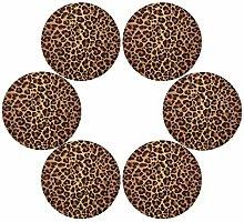 QMIN Round Placemats Set of 6, Leopard Animal Skin