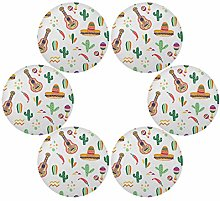 QMIN Round Placemats Set of 6, Mexican Tropical