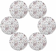 QMIN Round Placemats Set of 6, Watercolor