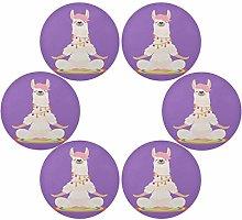QMIN Round Placemats Set of 6, Yoga Alpaca Llama