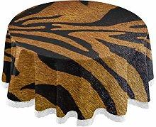 QMIN Table Cloth Animal Tiger Skin Print 60 inch