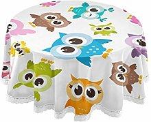QMIN Table Cloth Cute Owl Animal Pattern 60 inch