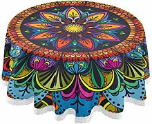 QMIN Table Cloth Indian Tribal Floral Mandala 60