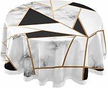 QMIN Table Cloth Marble Texture Golden Geometric