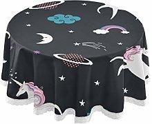 QMIN Table Cloth Rainbow Unicorn Universe Planet