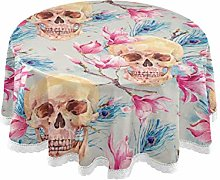 QMIN Table Cloth Vintage Watercolor Skull Flowers