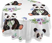 QMIN Table Cloth Watercolor Panda Animal Floral 60