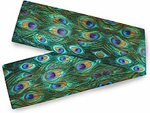 QMIN Table Runners Animal Peacock Feathers, Table
