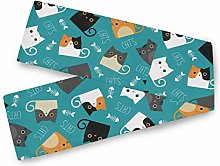 QMIN Table Runners Cute Cat Animal Pattern, Table