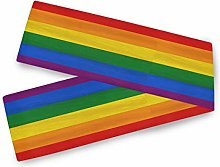 QMIN Table Runners Rainbow Colorful Stripe, Table