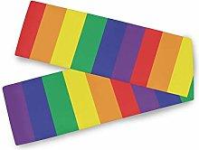 QMIN Table Runners Rainbow Stripe Pattern Print,