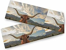 QMIN Table Runners Texas Wildlife Longhorn Cow