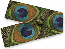QMIN Table Runners Tribal Animal Peacock Feather,