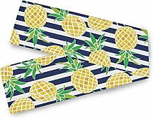 QMIN Table Runners Tropical Pineapple Navy Blue