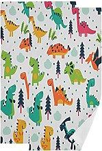 QMIN Towel Cartoon Dinosaur Animal Tree Pattern