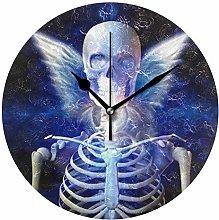 QMIN Wall Clock Winged Skeleton Skull Death Eye,