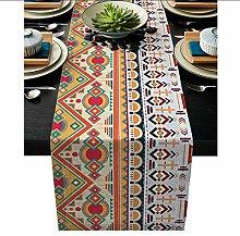 QMOL Bohemian Ethnic Pattern Table Runner Linen