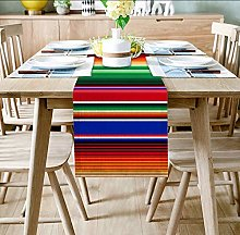 QMOL Colorful Striped Multicolor Table Runner