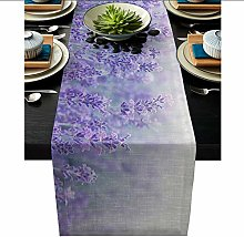 QMOL Flower Lavender Plant Purple Printed Table
