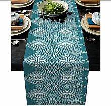 QMOL Geometry Table Runner Linen Cotton Table Flag