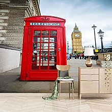 QMWZZV Custom Wallpaper 3D Mural Red Phone Booth