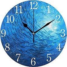 QND Beach Trendy Blue Round Wall Clock, Silent Non