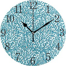 QND Geometric Navy Blue Coral Round Wall Clock,