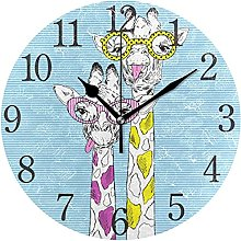 QND Giraffes in Funky Glasses Round Wall Clock,