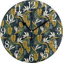 QND Mnsruu Tropical Flowers Navy Round Wall Clock,