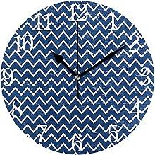 QND Nautical Navy Stripes Round Wall Clock, Silent