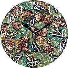 QND Navy Butterflies Round Wall Clock, Silent Non