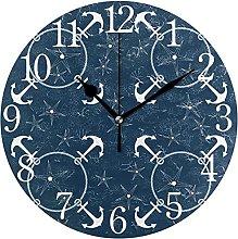 QND Retro Nautical Anchors Navy Round Wall Clock,