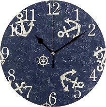 QND Vintage Navy Anchor Round Wall Clock, Silent