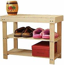 QNDDDD Shoe Racks Organize Wood 3 Layer Shoe Bench
