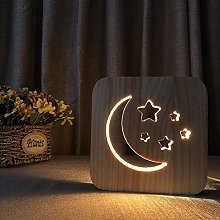 QNN Moon Stars Creative Cartoon Cute Wooden Night