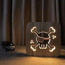 QNN Pirate Wooden Night Light 3D Hollow USB