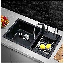 QNN Sink,Kitchen Sink Double Sink Black Drain