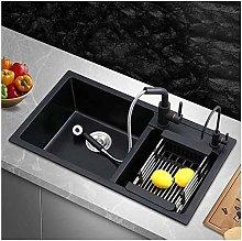 QNN Sink,Kitchen Sink Double Sink Black Sink Drain