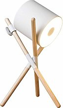QNN White Leather Walnut Table Lamp Nordic