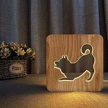 QNN Wooden Night Light Shiba Inu Cute Dog 3D